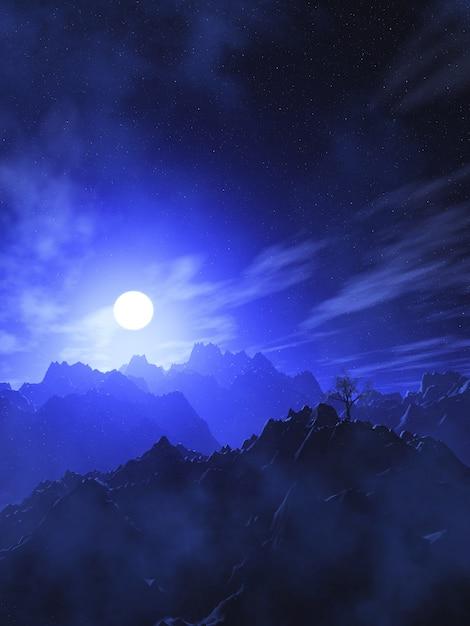 月の空を持つ3d山の風景 無料写真