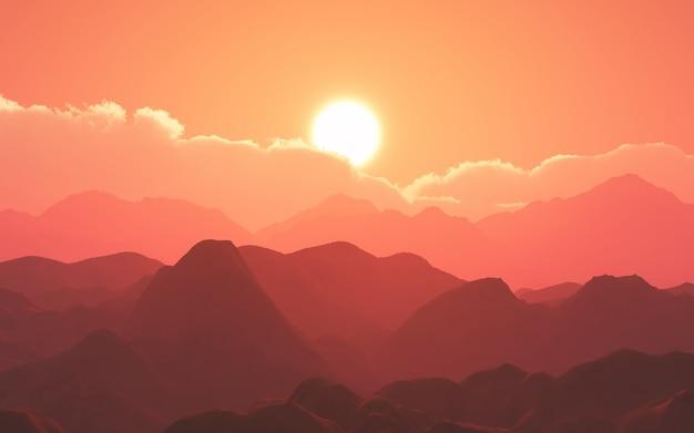 夕焼けの空に対する3d山の風景 無料写真