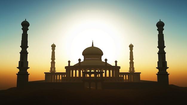 夕日の空に対してモスクを持つ3dラマダンの背景 無料写真