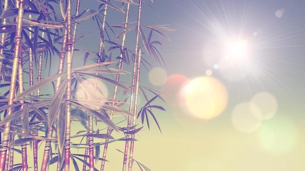 ビンテージ効果のある竹の3d画像 無料写真