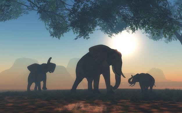 象の群れと3d風景 無料写真