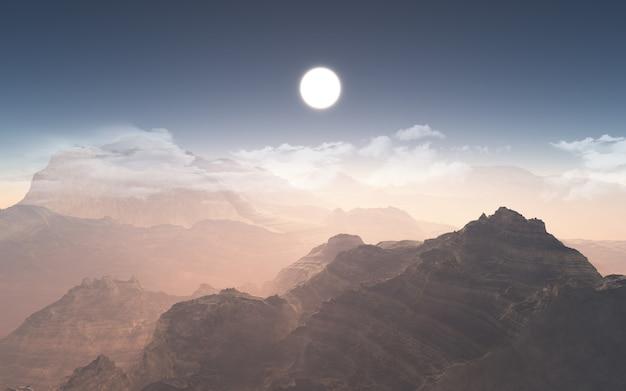 雲が少ない3d山脈 無料写真