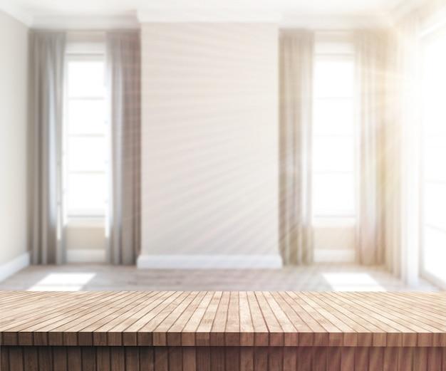 3d деревянный стол, глядя в солнечный пустой комнате Бесплатные Фотографии