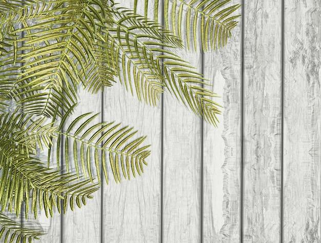 白い木の質感の上に3dのシダの葉 無料写真