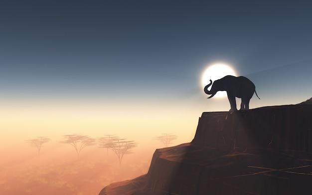 夕焼けの空に対して崖の上に3d象 無料写真