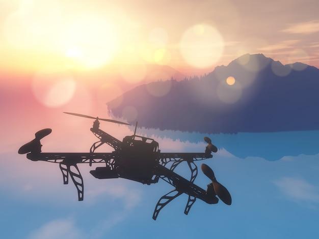 夕焼けの空で海を飛んでいる3d無人機 無料写真