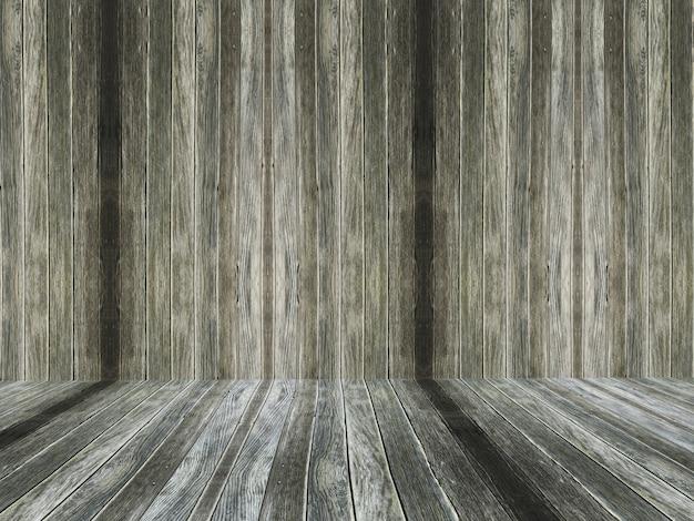 3d古い木製の部屋のインテリア 無料写真