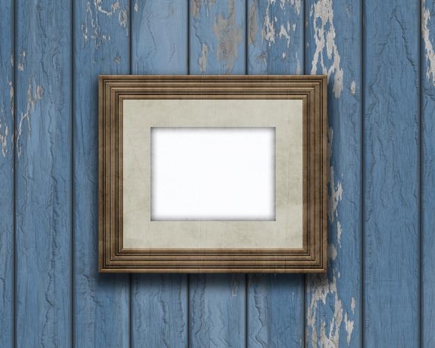 古い木製の壁に3dヴィンテージ空の画像フレーム 無料写真