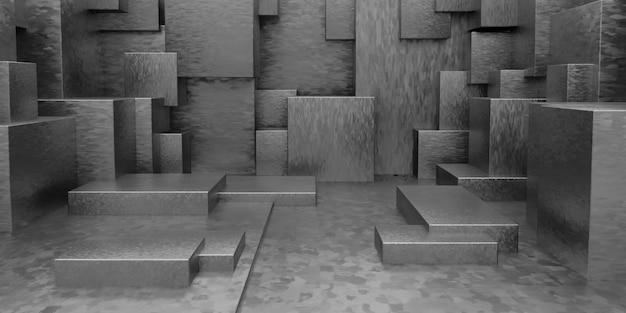 3d幾何学的な抽象的なキューボイド壁紙の背景 無料写真