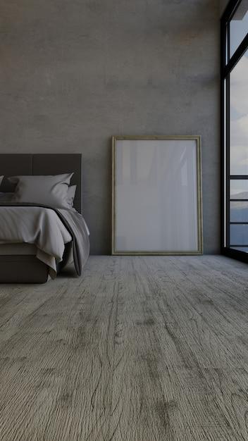 3dコンテンポラリーなベッドルームインテリア 無料写真