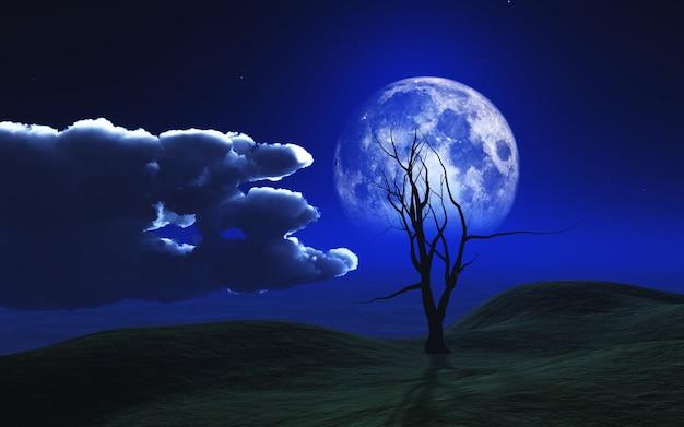 月光の空に対して幽霊の木を持つ3dハロウィーンの背景 無料写真