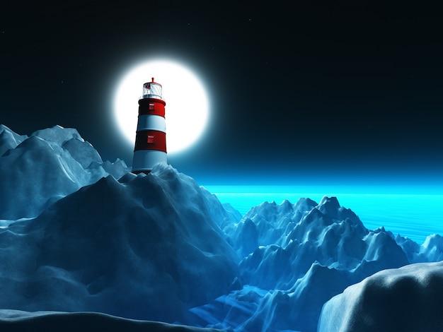 夜空に岩の崖の3d灯台 無料写真