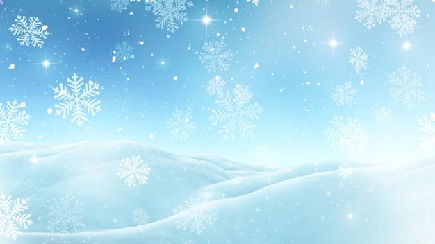 雪片と3dクリスマスの背景 無料写真