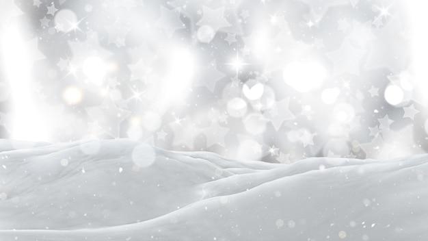 3dは、銀の星空の背景に雪のクローズアップ 無料写真