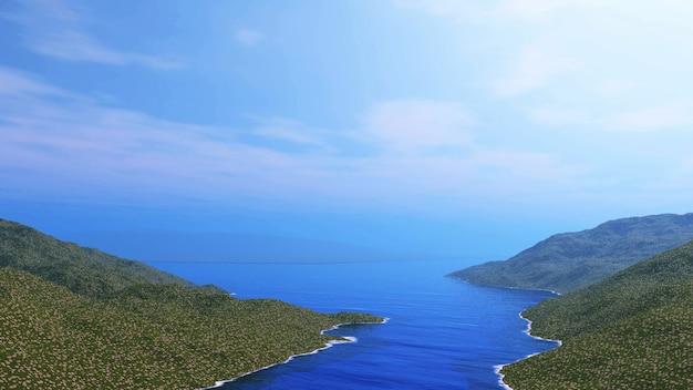 草の多い丘と海の3d風景 無料写真