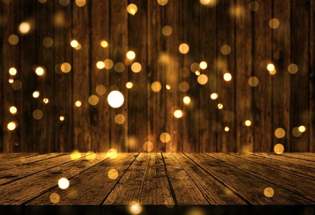 3d деревянный стол с рождественскими боке огнями Premium Фотографии