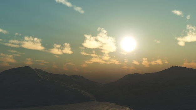 3d山の景色 無料写真