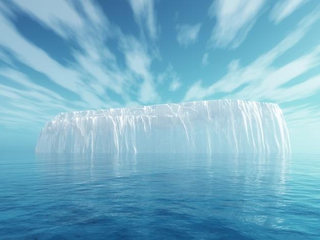 青い海の3d氷山 無料写真