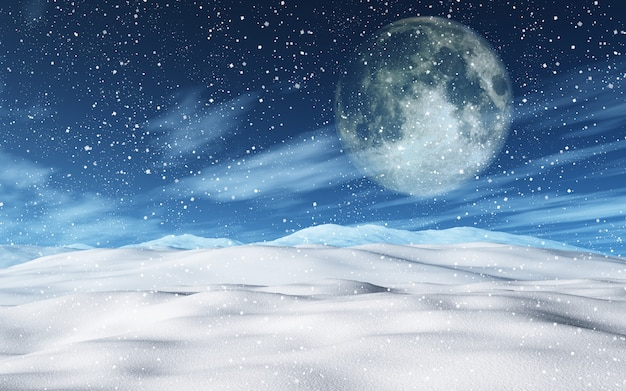 月の3d雪のクリスマスの風景 無料写真