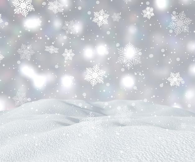 落ちる雪の結晶と3d雪の風景 無料写真