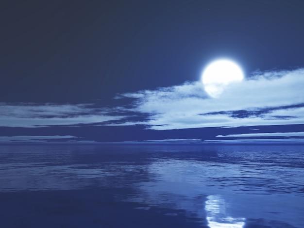 3d月明かりの海 無料写真