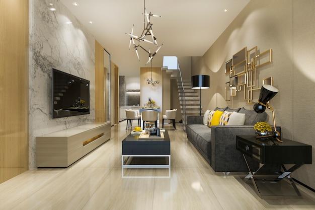 3d рендеринг современной чердак столовой и гостиной с роскошным декором возле лестницы Premium Фотографии