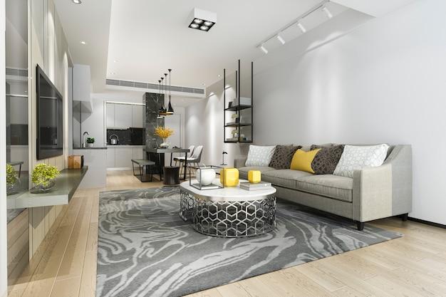 3d рендеринг современной столовой и кухни с гостиной с роскошным декором Premium Фотографии