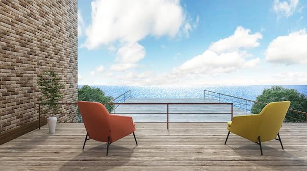3d рендеринг красивых стульев на открытой террасе с хорошим видом Premium Фотографии