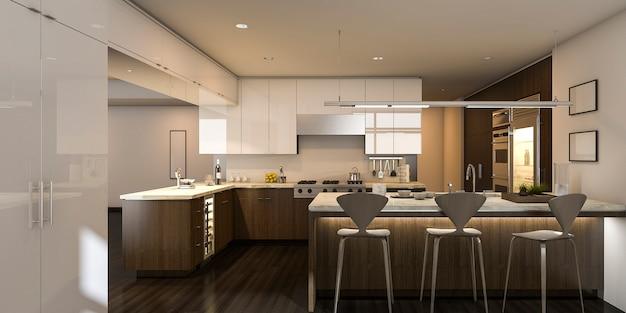3d рендеринг теплый свет красивая кухня Premium Фотографии