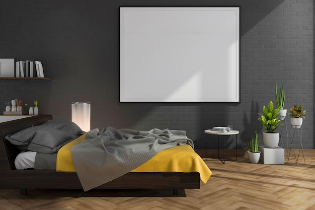 3d рендеринг макет на черной кирпичной стене спальни с чердаком Premium Фотографии