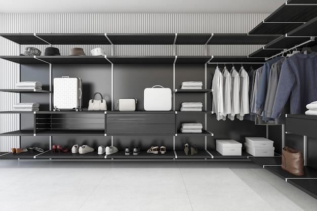 3d рендеринг современный чердак черный ходить в шкафу с рубашкой и платьем Premium Фотографии