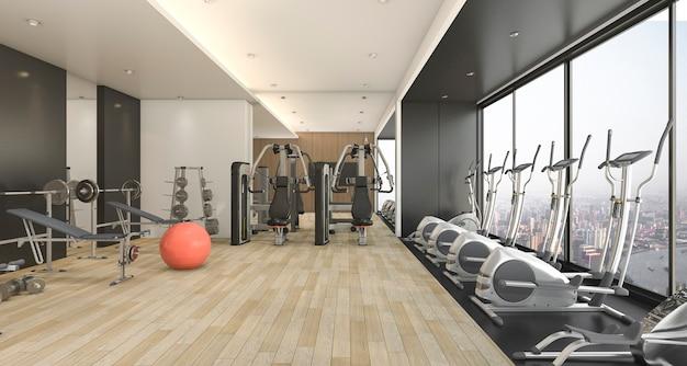 3d рендеринг современный деревянный и черный декор тренажерный зал и фитнес с красивым видом Premium Фотографии