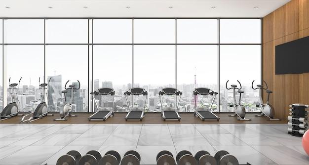 3d рендеринг в современном стиле фитнес и тренажерный зал с видом на город и небо Premium Фотографии