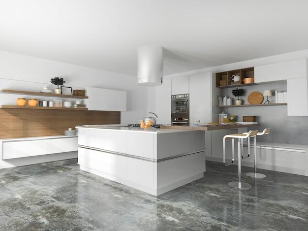 3d-рендеринг роскошной современной кухни Premium Фотографии