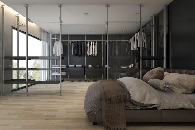 3d рендеринг современная спальня с гардеробной и гардеробной Premium Фотографии