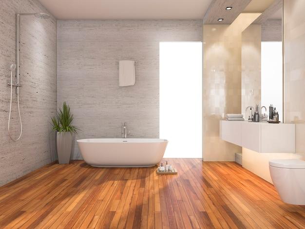 3d рендеринг дерева яркие ванная комната и душ с современным декором Premium Фотографии