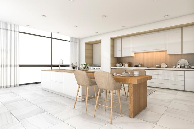 3d рендеринг скандинавской кухни и столовой с красивой плиткой Premium Фотографии