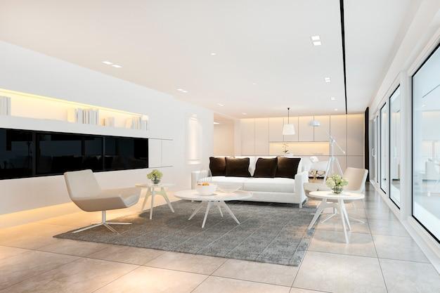 3d рендеринг белая современная гостиная рядом с кухней и открытой террасой Premium Фотографии