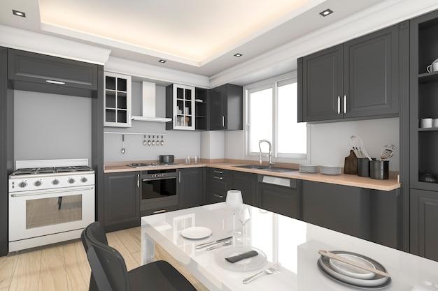 3d рендеринг современной черной и классной кухни и столовой Premium Фотографии