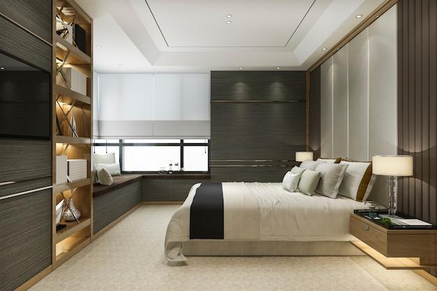 3d рендеринг дерева современная роскошная спальня с книжной полкой и подушкой Premium Фотографии