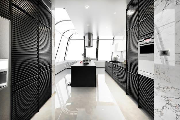 3d рендеринг современная черная кухня с современным деревом, встроенным в Premium Фотографии