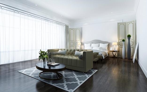 3d рендеринг красивая классическая спальня люкс в отеле с телевизором Premium Фотографии
