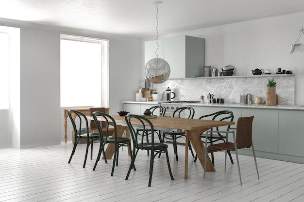 3d-рендеринг скандинавской винтажной кухни с обеденным столом Premium Фотографии
