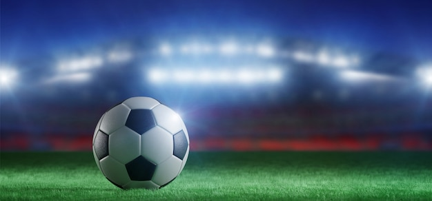 Футбольный мяч на поле стадиона кубка мира - 3d-рендеринга Premium Фотографии
