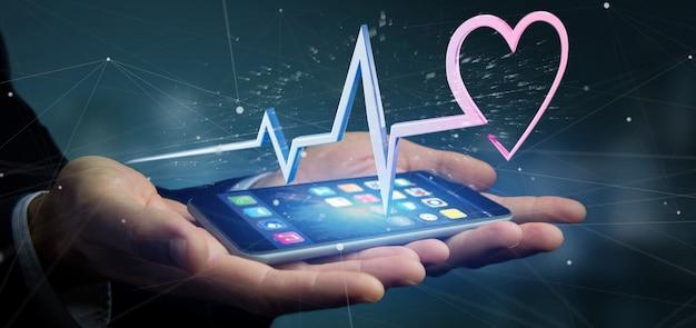 Бизнесмен, проведение 3d-рендеринга медицинской кривой сердца Premium Фотографии