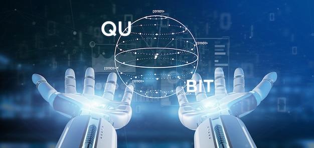 Рука киборга держа концепцию квантовых вычислений с переводом значка кубита 3d Premium Фотографии