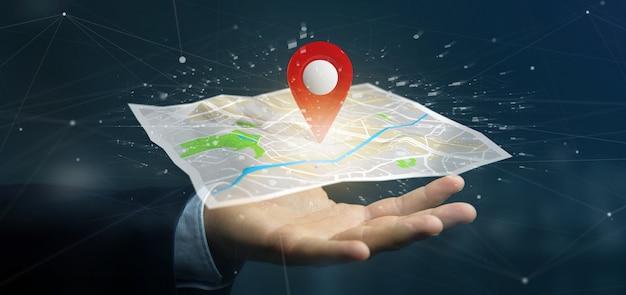 Бизнесмен, держа 3d-рендеринга булавкой держатель на карте Premium Фотографии