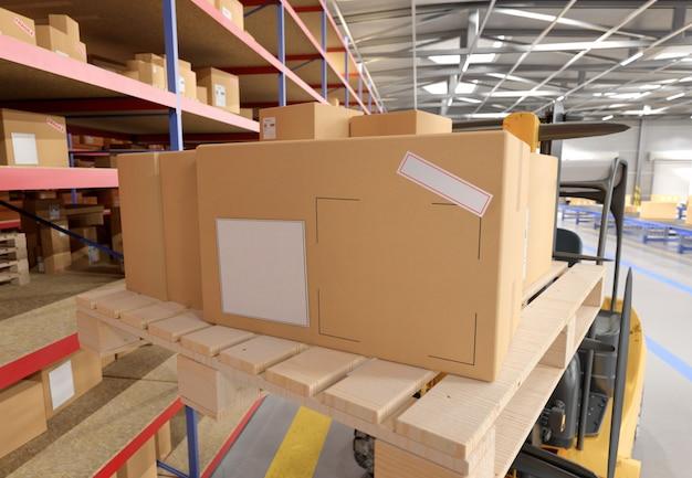 Картонная коробка на складе - 3d-рендеринг Premium Фотографии
