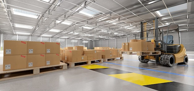 Склад товаров сток фон 3d рендеринг Premium Фотографии