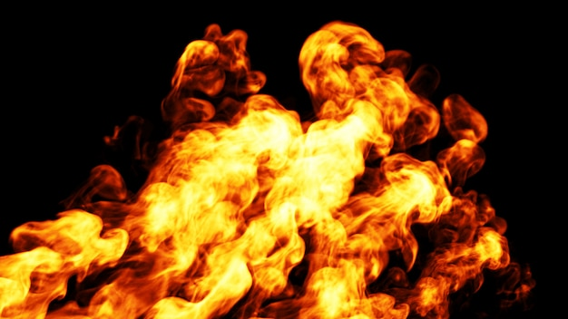 Динамическое пламя огня. 3d. Premium Фотографии